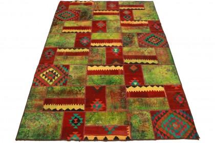 Patchwork Teppich Grün Rot in 300x200cm 1001-2209