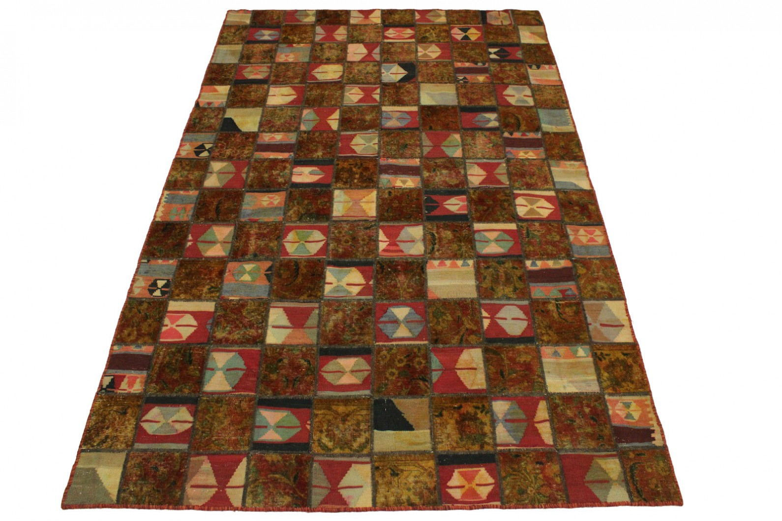 Patchwork Teppich Rot Curry in 300x200cm (1 / 4)