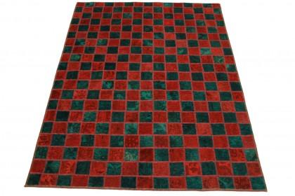 Patchwork Teppich Rot Türkis in 200x160cm