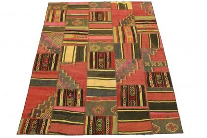 Kelim Patchwork Teppich Rot Rosa in 200x150cm