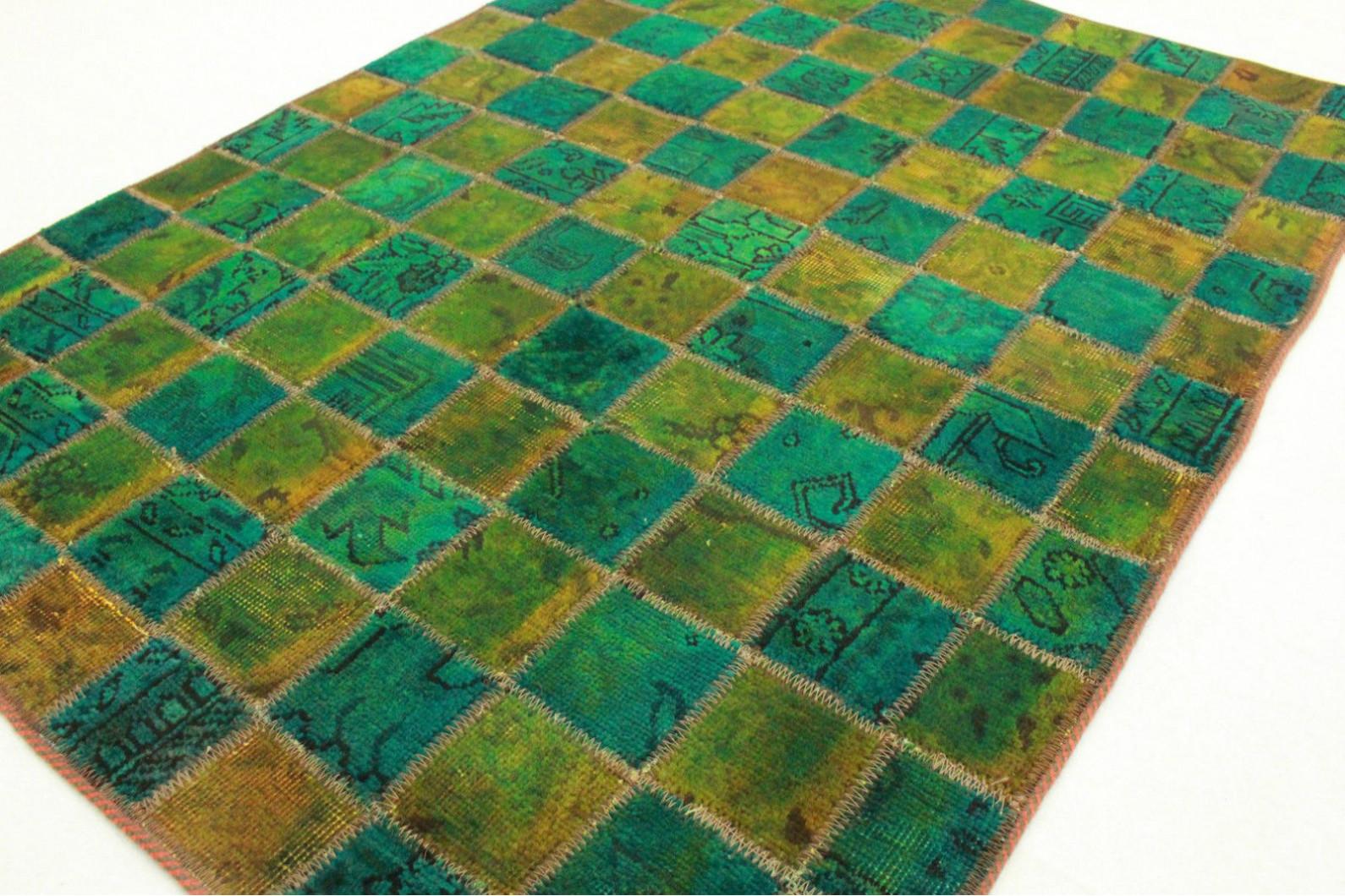 patchwork teppich gr n t rkis in 140x100cm 1001 2322 bei kaufen. Black Bedroom Furniture Sets. Home Design Ideas