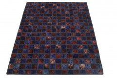 Patchwork Teppich Rot Lila in 210x170cm