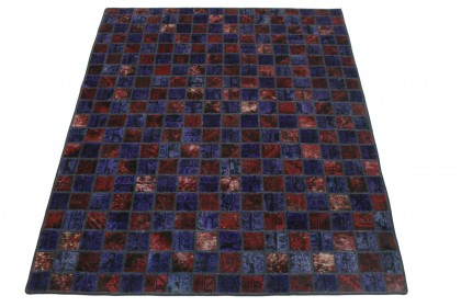 Patchwork Teppich Rot Lila in 210x170cm 1001-2331