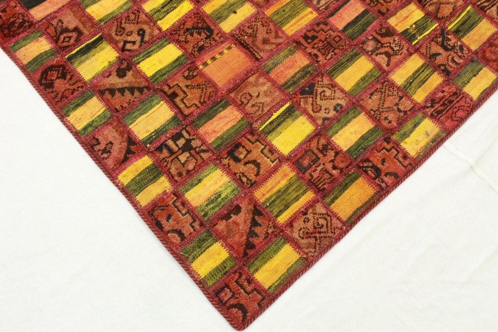kelim patchwork teppich gr n rot in 210x160cm 1001 2333 bei kaufen. Black Bedroom Furniture Sets. Home Design Ideas