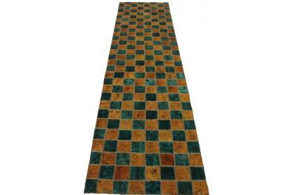 Patchwork Teppich Türkis in 320x80cm 1001-2345