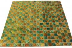 Patchwork Teppich Grün Türkis Gold in 210x210cm