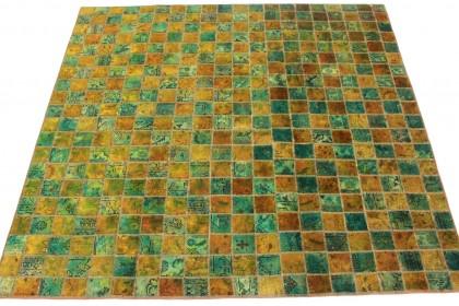 Patchwork Teppich Grün Türkis Gold in 210x210cm 1001-2353
