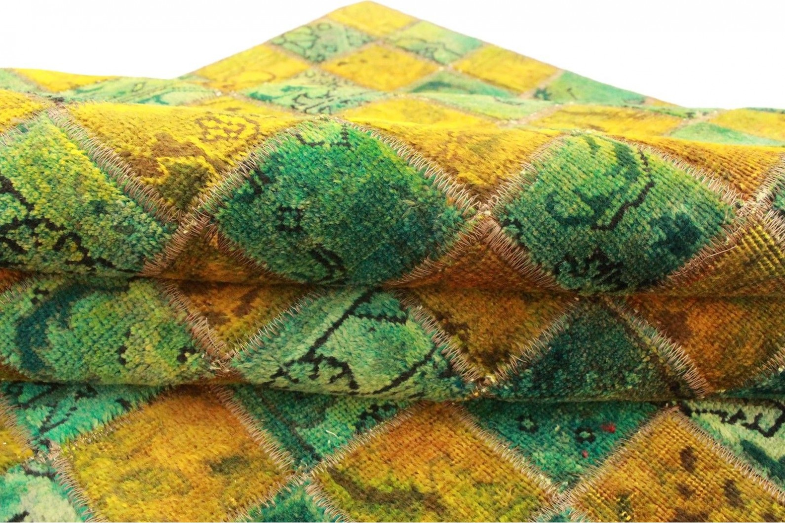 patchwork teppich gr n t rkis gold in 210x210cm 1001 2353 bei kaufen. Black Bedroom Furniture Sets. Home Design Ideas