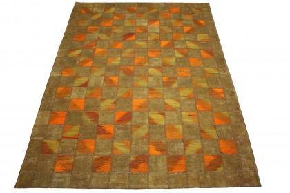 Patchwork Teppich Orange Braun in 300x200cm