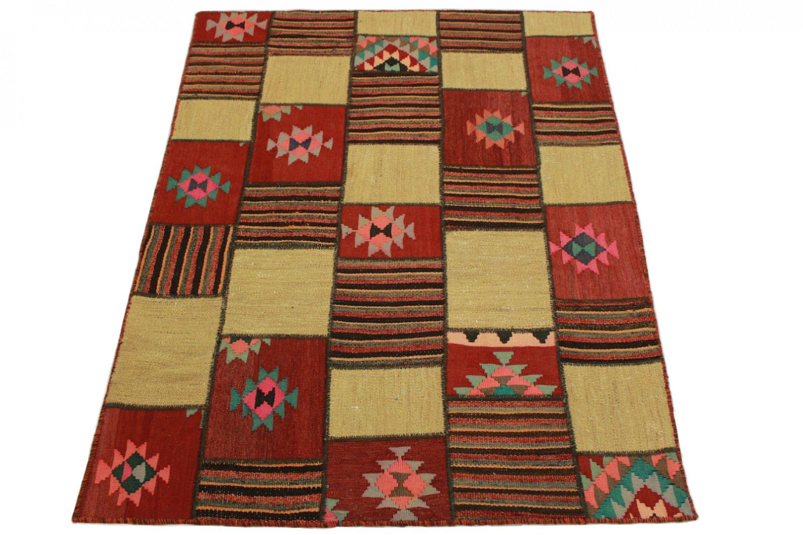 kelim patchwork teppich rot beige rosa in 200x150cm 1001 2491 bei kaufen. Black Bedroom Furniture Sets. Home Design Ideas
