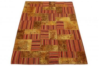 Patchwork Teppich Braun Rot in 270x200cm 1001-2510