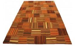 Kelim Patchwork Teppich Orange Braun Rot in 300x200cm