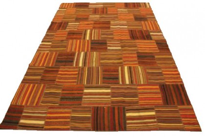Kelim Patchwork Teppich Orange Braun Rot in 300x200cm