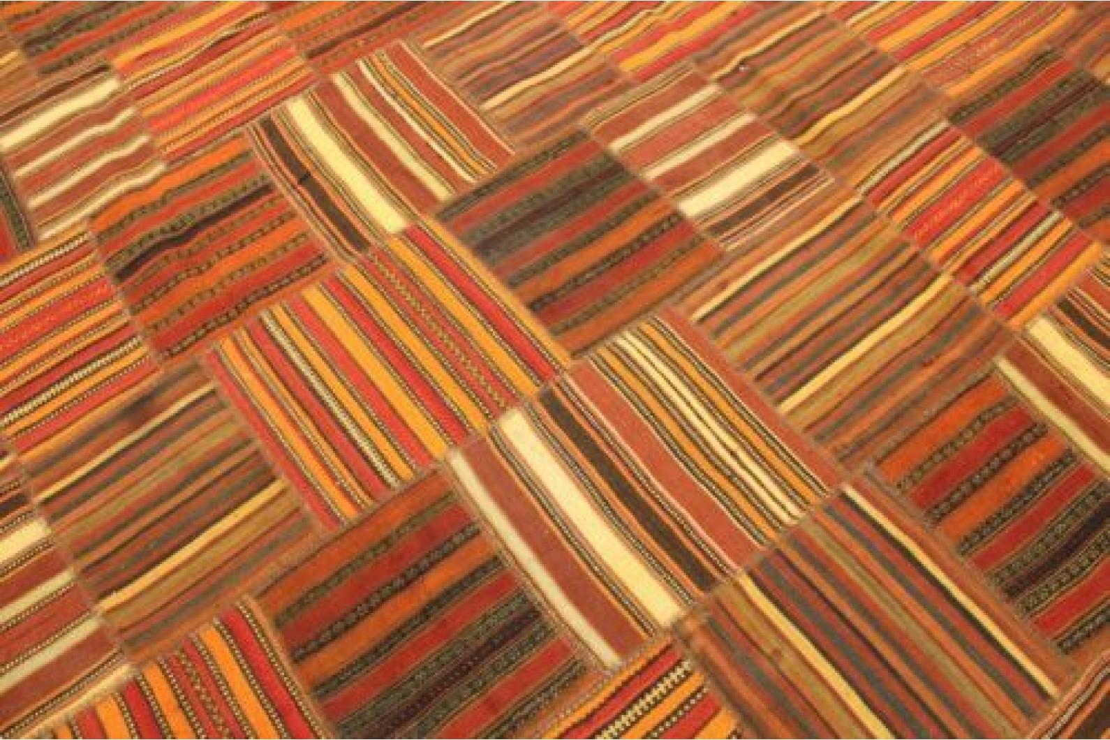 Kelim patchwork teppich orange braun rot in cm