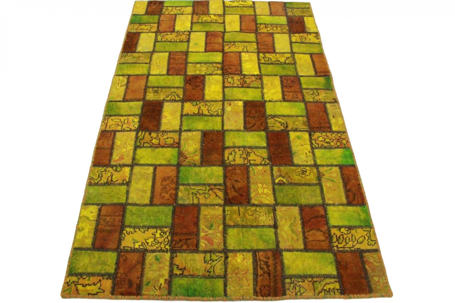patchwork teppich gr n gelb in 200x120cm 1001 2520 bei. Black Bedroom Furniture Sets. Home Design Ideas