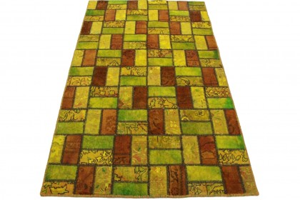 Patchwork Teppich Grün Gelb in 200x120cm