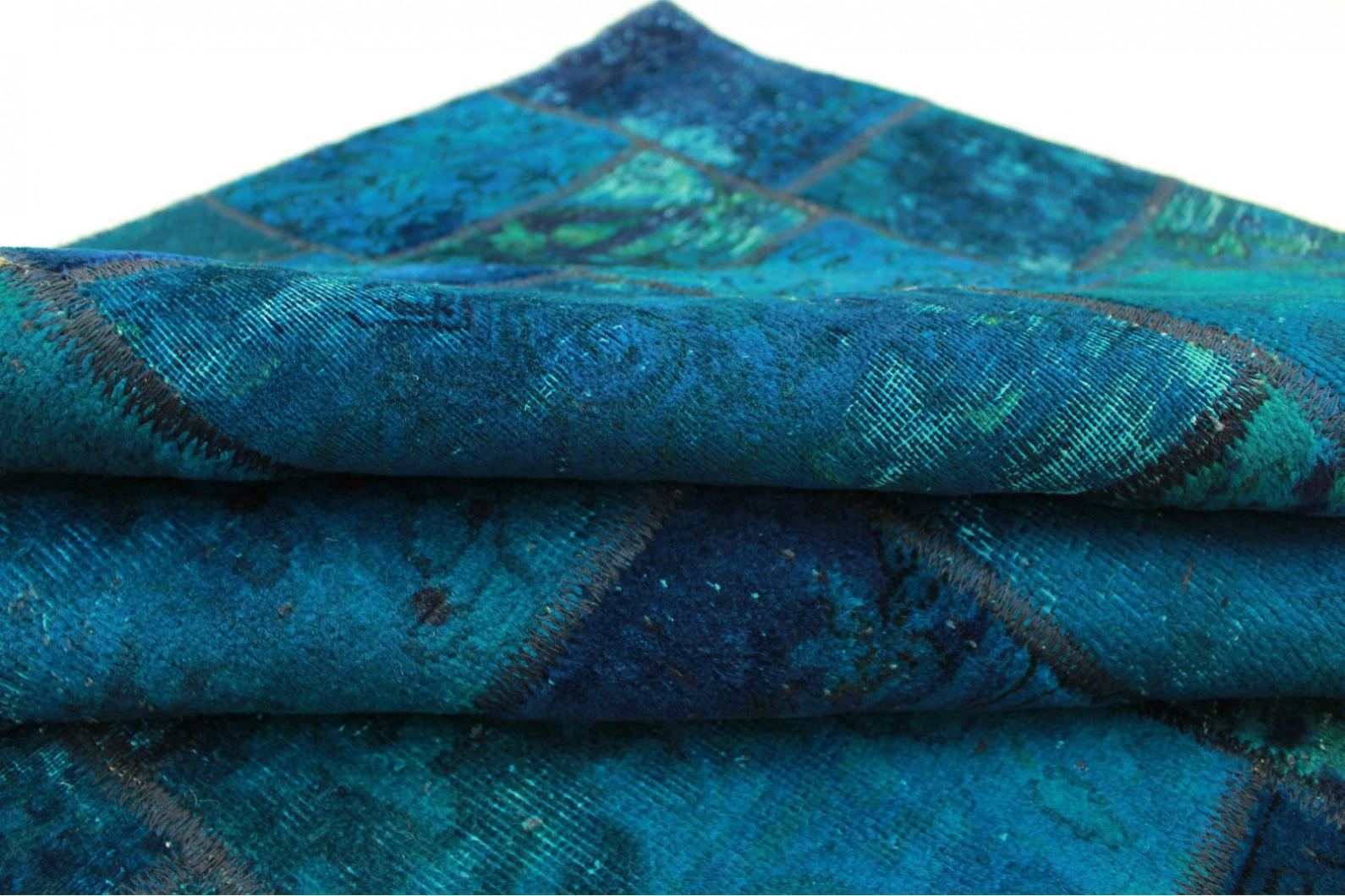 Patchwork teppich blau türkis in cm  bei