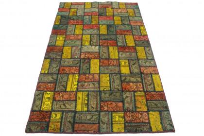 Patchwork Teppich Grün Rot Gelb in 210x120cm
