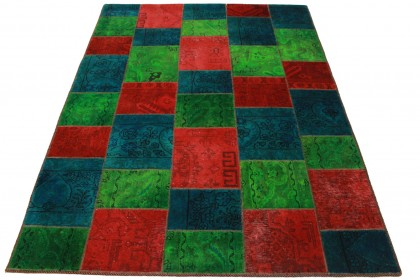 Patchwork Teppich Grün Rot Blau in 200x150cm