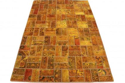 Patchwork Teppich Orange Curry in 210x140cm