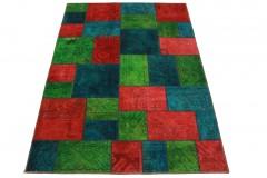 Patchwork Teppich Rot Blau in 240x160cm