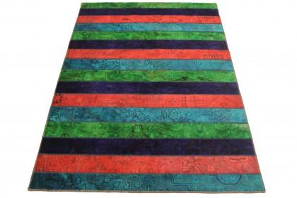 Patchwork Teppich Rot Lila Blau in 240x170cm 1001-2562