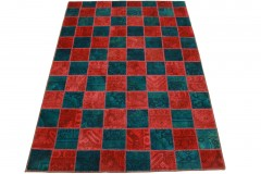 Patchwork Teppich Rot Türkis in 240x160cm