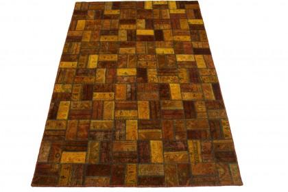 Patchwork Teppich Braun Curry in 250x160cm