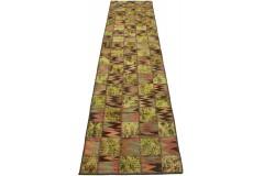 Patchwork Teppich Läufer Grün Braun in 310x80cm