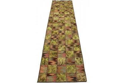 Patchwork Teppich Grün Braun in 310x80cm 1001-2609
