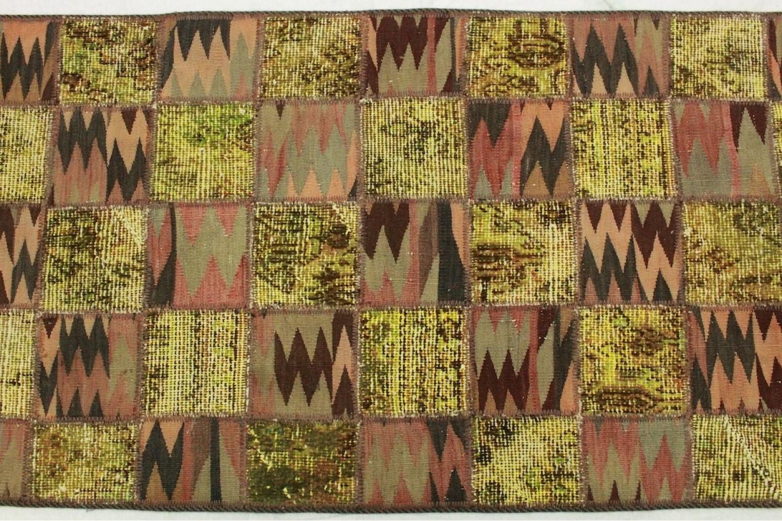 patchwork teppich gr n braun in 310x80cm 1001 2609 bei kaufen. Black Bedroom Furniture Sets. Home Design Ideas