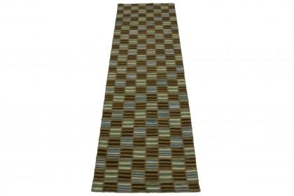 Kelim Patchwork Teppich Braun Weiß in 280x80cm 1001-2615