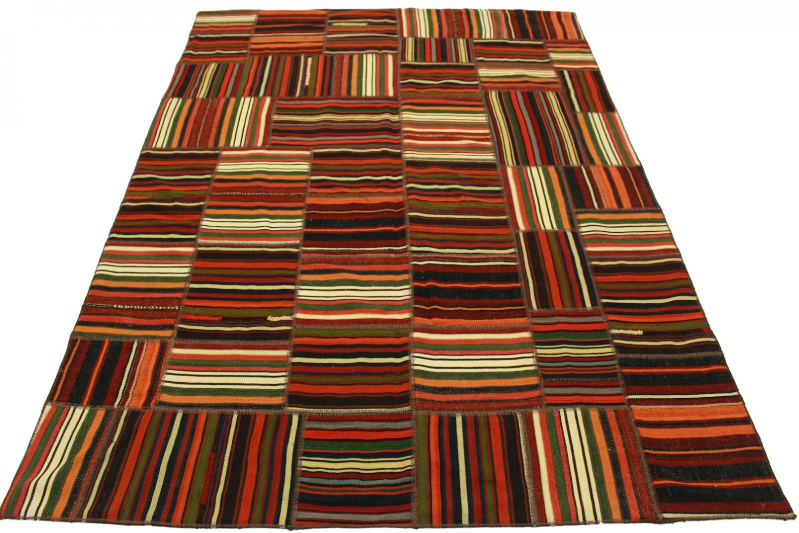 Kelim Patchwork Teppich Rot in 230x170cm (1 / 5)