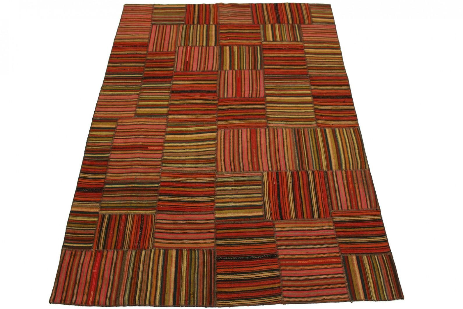 Kelim Patchwork Teppich Rot Rosa in 240x160cm