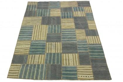 Kelim Patchwork Teppich Blau Beige in 230x170cm