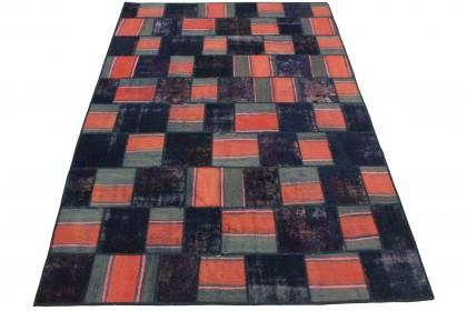 Patchwork Teppich Rot Lila Grau in 300x200cm