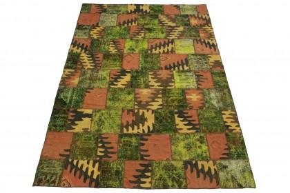 Patchwork Teppich Grün Rosa in 300x200cm 1001-2655
