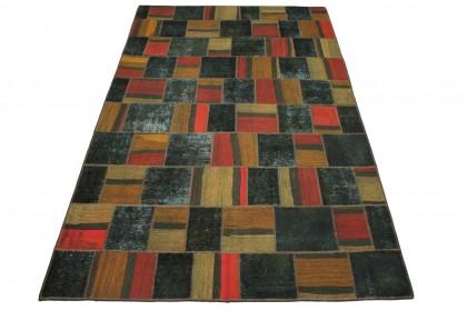 Patchwork Teppich Rot Beige Oliv in 310x200cm