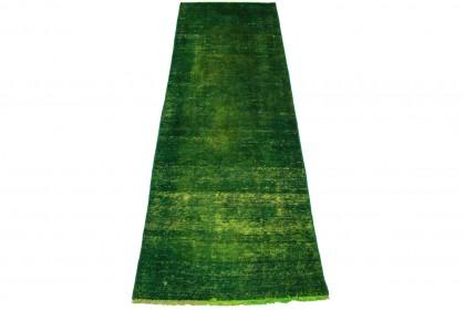 Vintage Teppich Läufer Grün in 310x90cm