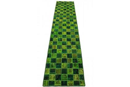 Patchwork Teppich Läufer Grün in 300x70cm