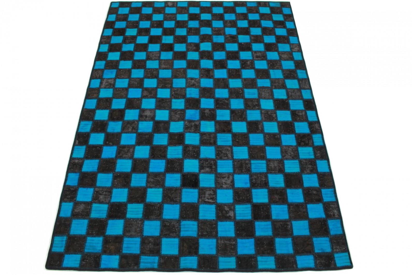 patchwork teppich blau schwarz in 250x160cm 1001 2975 bei kaufen. Black Bedroom Furniture Sets. Home Design Ideas