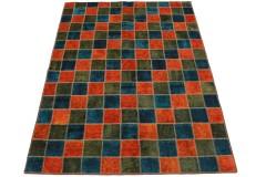 Patchwork Teppich Orange Blau in 230x170cm