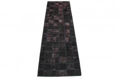 Patchwork Teppich Läufer Schwarz Rosa in 310x90cm