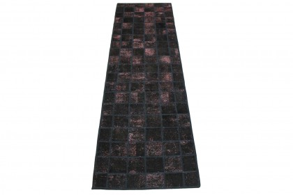 Patchwork Teppich Schwarz Rosa in 310x90cm 1001-2978