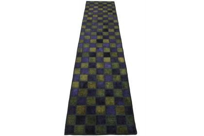 Patchwork Teppich Lila Oliv in 300x70cm 1001-2984