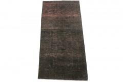 Vintage Teppich Läufer Schwarz Rosa in 170x80cm