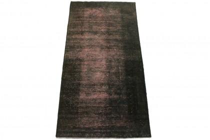 Vintage Teppich Schwarz Rosa in 180x90cm