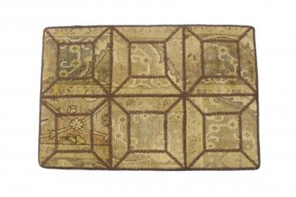 Patchwork Teppich Beige Gelb in 90x60