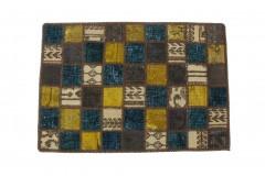 Patchwork Teppich Türkis Beige in 90x60