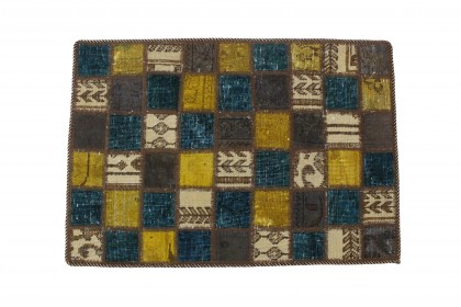 Patchwork Rug Turquoise Beige in 90x60